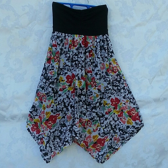 Volcom Dresses & Skirts - Strapless Dress Asymmetrical Multi-Color EUC